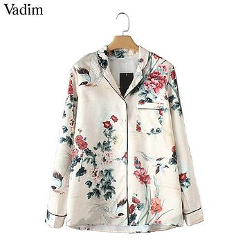 women crane floral pattern blouse long sleeve pocket shirts female casual autumn tops
