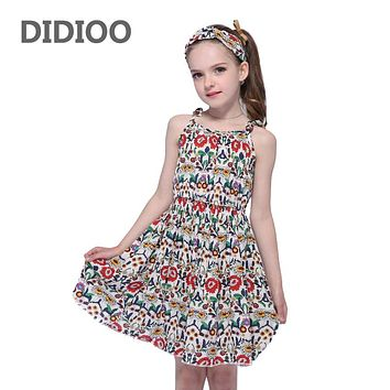 Children  Dresses For Girls Suspenders Floral Beach Dress Cotton Casual Girls Dresses  Summer Holiday Clothes