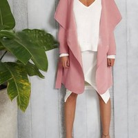 New Pink Irregular Pockets Sashes Turndown Collar Long Sleeve Trench Coats