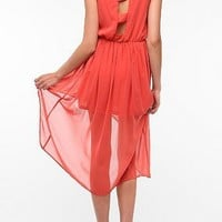 Doe & Rae Chiffon Open Back High/Low Dress
