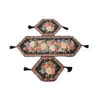 Tache Set of 3 Colorful Country Rustic Black Floral Midnight Awakening Table Runner (DB3089-3PCST)