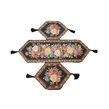 Tache Set of 3 Colorful Country Rustic Black Floral Midnight Awakening Table Runner Set (DB3089-3PCST)