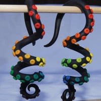 4 Gauge Rainbow Octopus Tentacle Earrings