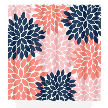 Flower SHOWER CURTAIN Burst Petals Navy Coral Girl MONOGRAM Personalized Floral