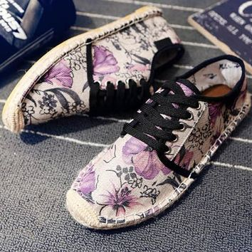 Purple Round Toe Flat Morning Glory Print Casual Shoes