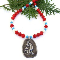 Kokopelli Southwest Necklace, Red Coral Turquoise Magnesite Handmade Jewelry