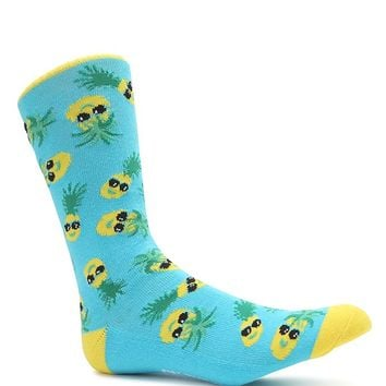 On The Byas Pineapple Day Crew Socks - Mens Socks - Yellow/Blue - One