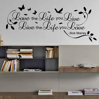 Love the Life you Live Bob Marley Wall Sticker Quote Bedroom Mural Art Alt with Extras