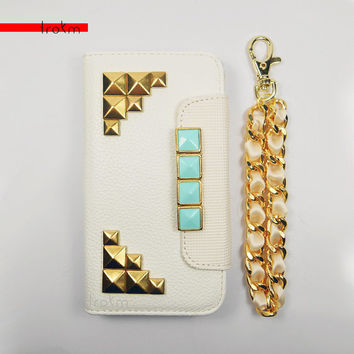 iPhone 5 5S chain case white wallet studded with mint and gold studs with matching satin chain ribbon wristlet available for other phones