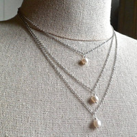 pearl layer necklace, white freshwater pearls, multi layer necklace