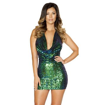 Sexy Ariel Iridescent Sequin Cowl Neck Open Back Party Dress