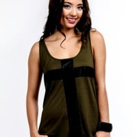 Sleeveless Cross Top