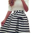 Women's Off Shoulder Striped Splice Evening Party Cocktail Midi Dress