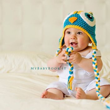 Newborn Photo Prop - Baby Shower Gift - Baby Hat - Owl Baby Shower - Owl Hat - Photo Prop - Newborn Photo Outfit - Crochet Owl Hat - Prop