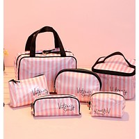 Victoria New fashion pink white stripe bag cosmetic bag storage bag handbag