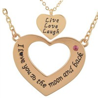 MJartoria I Love You to the Moon and Back One for Mom One for Daughter Necklace Set of 2 Gold Color