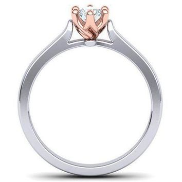2 Tone Solitaire Engagement Rose Gold Classic 6 prongs Diamond Ring Minimalist Diamond Ring Solid Gold Unique Engagement Ring