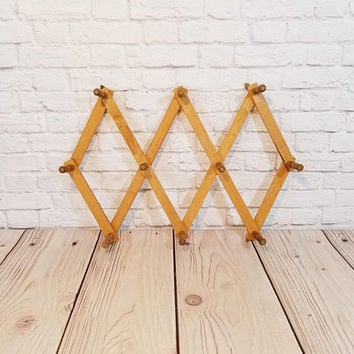 Vintage Wood Accordion Hanger Peg Rack