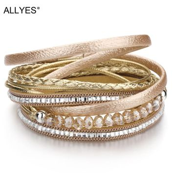 ALLYES Multilayer Leather Bracelet Woman Trendy Boho Crystal Beads Braided Rope Wide Wrap Bracelets For Women Jewelry
