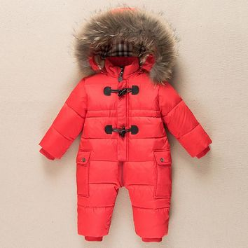 2017 Russia winter baby down jacket baby clothes warm snow suit white duck down parka jumpsuit nature raccoon fur collar hooded