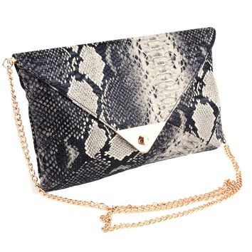 *Online Exclusive* Snakeskin Print Envelope Clutch