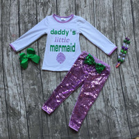 kids Fall clothes baby girls daddy's little mermaid clothing long sleeve with sequin pants outfits with accessories