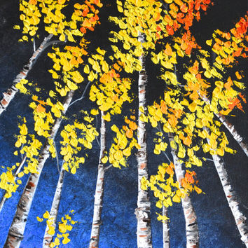 Midnight at the Festival, Aspen Trees, Birch Trees Original Oil Painting
