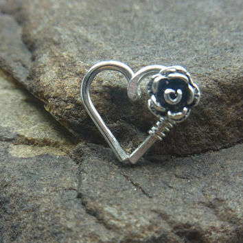 Oxidized Rose Flower Love Heart Cartilage / Rook / Daith Earring - Single