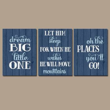 Boy Quote Wall Art, Canvas or Prints BOY Nursery Quote Distressed Wood Effect Dream Big Let Him Sleep Oh The Places You'll Go Set of 3