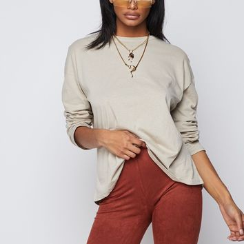 You're Basic Long Sleeved Crew Neck Oversized Top Taupe