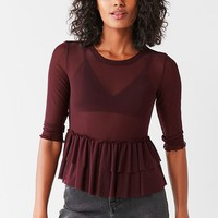 Out From Under Mesh Ruffle Peplum Top | Urban Outfitters