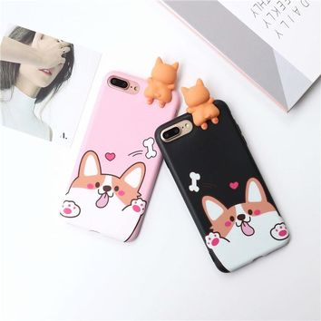 Lovely puppy dog corgi Case For iPhone 7 7Plus Case dog For iPhone 6 6S Plus 6Plus Capa Fundas Coque IMD Quality Soft cover