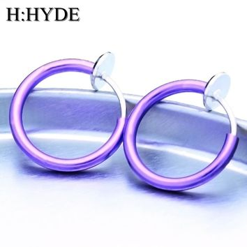 H:HYDE 14 Colors Goth Punk Nose Clip Fake Septum Nose Piercing Body Nose Lip Hoop Ear Tongue Fake Septum Piercing Clip Earrings