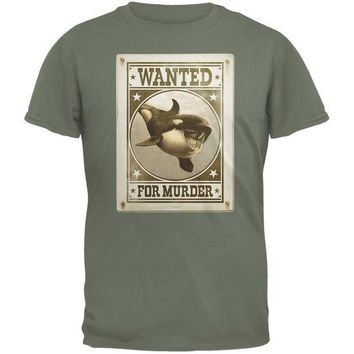 CREYCY8 Orca Killer Whale Wanted For Murder Military Green Adult T-Shirt