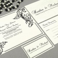 Leaf Scroll | Classic Wedding Invitation Suite by RunkPock Designs | Vintage inspired drawn leaf scrolls with Calligraphy Script text | shown in black on ivory