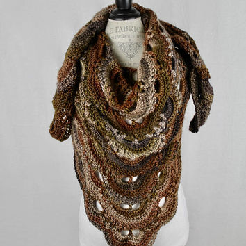 Crochet - Virus Women's Shawl / Wrap - Mulit Color - Brown Tones