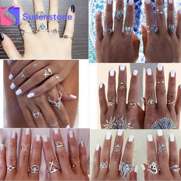 Fashion Animal Stone Midi Ring Sets 2017 New Bohemian Vintage Crystal Knuckle Rings for Women Anillos Mujer Jewellery 38PCS/Lot