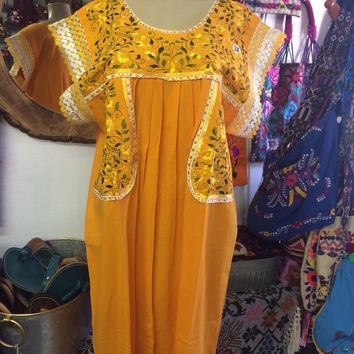 Mexican Fino Embroidered Maxi Dress Yellow and Gold