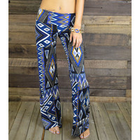 Moon Burst Royal Blue Geometric Pants