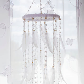 White  Dream Catcher Nursery Decor Mobile Wedding  Mobile Bedroom Nursery Boho Dream Catcher