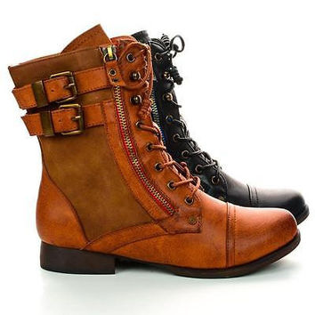Yucca3 Chestnut Pu by Liliana, Lace Up Combat Military Ankle Boots