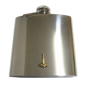 Brass Toned Nautical Light House Pendant 6 Oz. Stainless Steel Flask