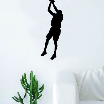 Basketball Player V2 Silhouette Quote Wall Decal Sticker Bedroom Living Room Art Vinyl Teen Sports Bball Ball is Life Dunk