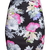 H&M - Patterned Skirt - Black floral - Ladies