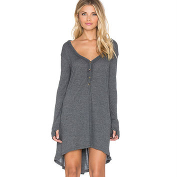 2016 Autumn Fashion Women Sexy Deep V-neck Single Button Dress Long-sleeve Dark Grey Clothing Loose Plus Size Dresses A18X1012