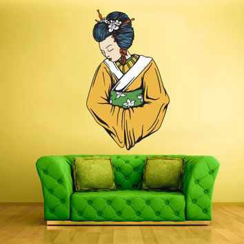Full Color Wall Decal Mural Sticker Art Geisha Asian Japan Japanese Girl Woman Dress (col180)