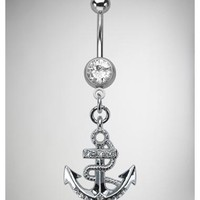 14 Gauge Anchor Banana Belly Button Ring