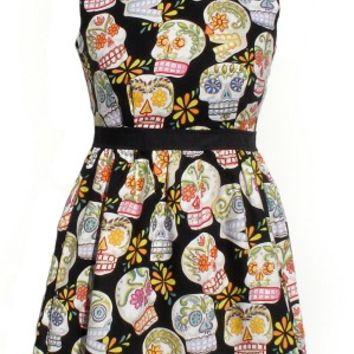 """Head Over Wheels"" Sugar Skull Pin-Up Dress"