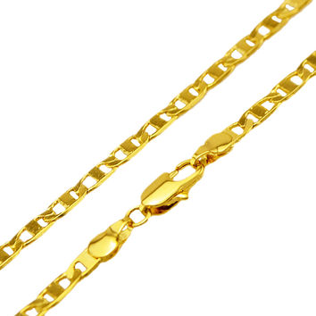 New Arrival Men's 4mm 18K Real Gold Plated Anchor Flat Mariner Link Chain Necklace Jewelry