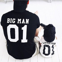Father son clothes family matching clothes 2017 summer letter printing T-shirt for dad and son family matching outfits